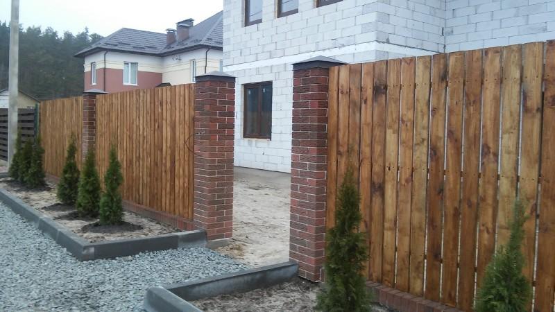 Забор деревянный штакетник широкий | Фото - 3