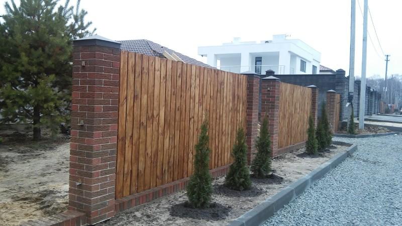 Забор деревянный штакетник широкий | Фото - 4