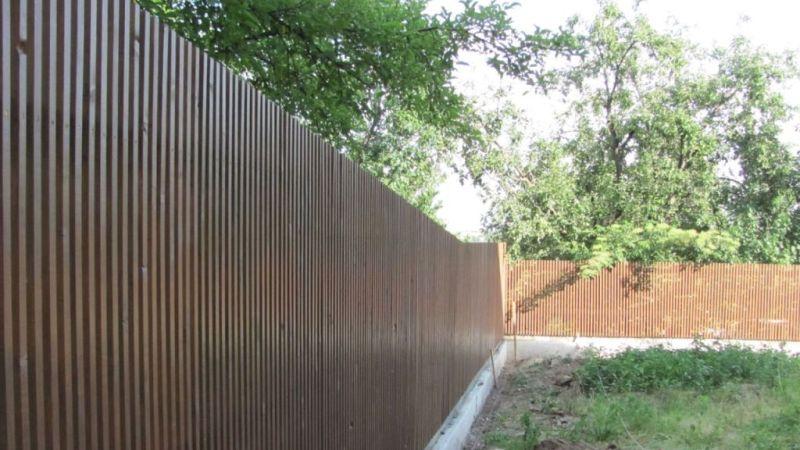 Забор деревянный штакетник узкий   Фото - 5